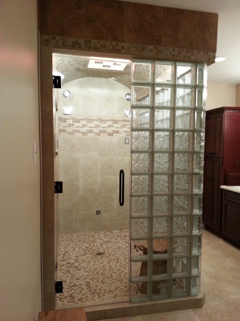 Clever Glass Block Steam Shower Contemporary Bathroom Medium