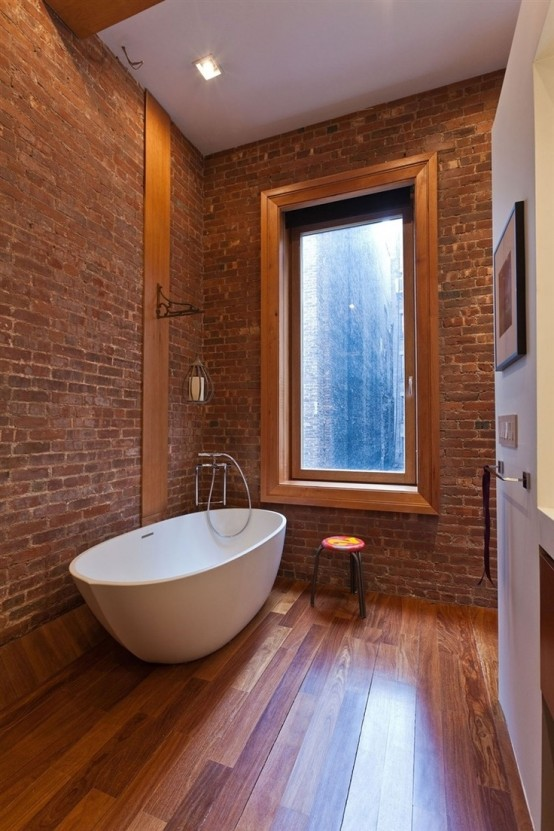 Example Of A 39 Stylish Bathrooms With Brick Walls And Ceilings Digsdigs Medium