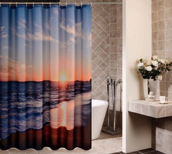 Goodbath Sunset Ocean Beach Shower Curtain Medium