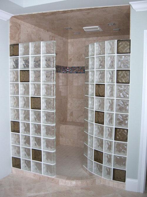 Inspirational Colored Glass Blocks For A Doorless Walkin Shower Medium