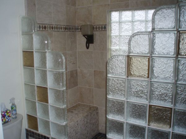 Looking Glass Block Shower Wall Height   Size Cleveland Columbus Medium