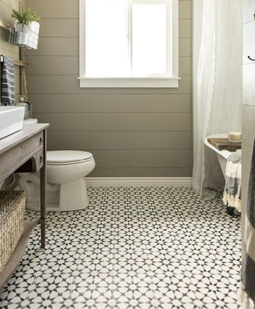 style patterned floor tiles in vintage bathroom decorations medium