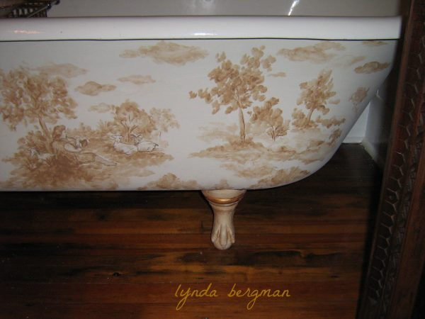 Top Lynda Bergman Decorative Artisan Hand Painted Toile Medium