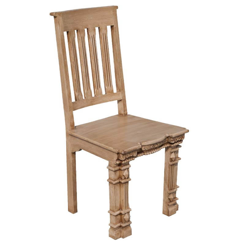 browse roman pillar hand carved mango wood dining chair set of two