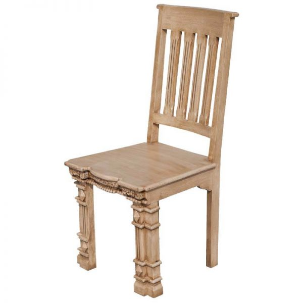 Clever Roman Pillar Hand Carved Mango Wood Dining Chair Set Of Two Medium