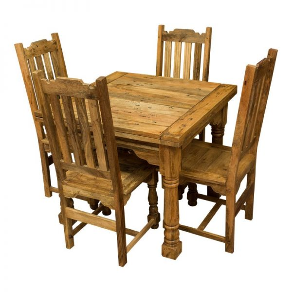 Collection Rustic Mango Wood Plank Top Butterfly Table   Four Chairs Medium