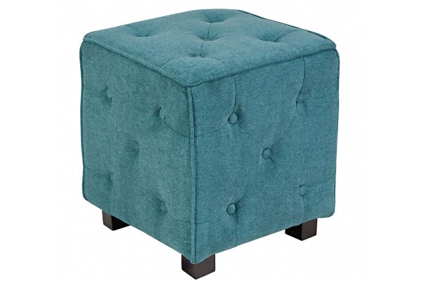 Example Of A Duncan Small Tufted Teal Cube Ottoman At Gardnerwhite Medium