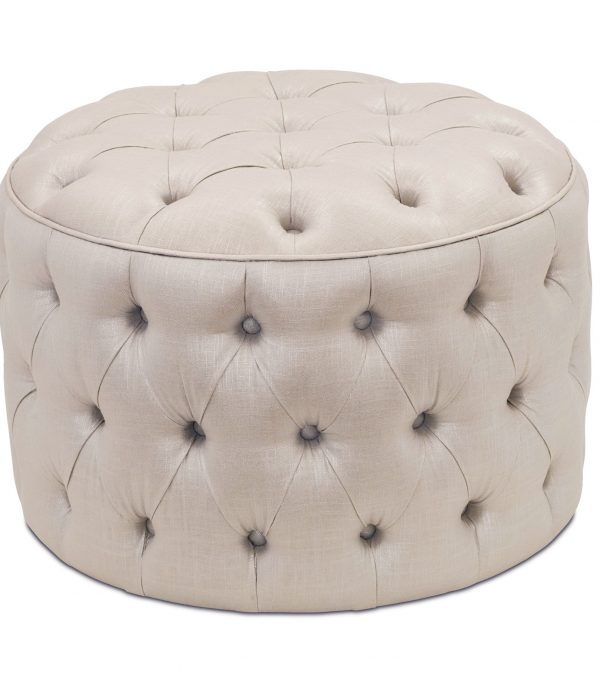 Example Of A Small Round Tufted Ottomanhome Design Ideas Medium