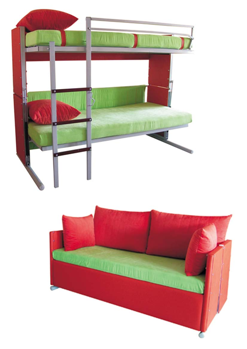fresh space saving living room design with transform bunk bed