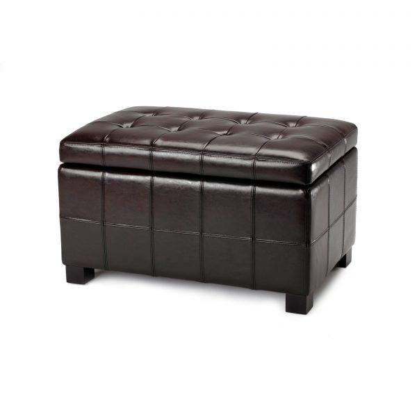 Inspirational Safavieh Small Brown Maiden Tufted Brown Leather Storage Medium