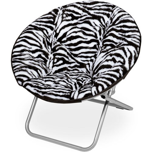 Microplush Folding Saucer Chair Zebra Print Medium