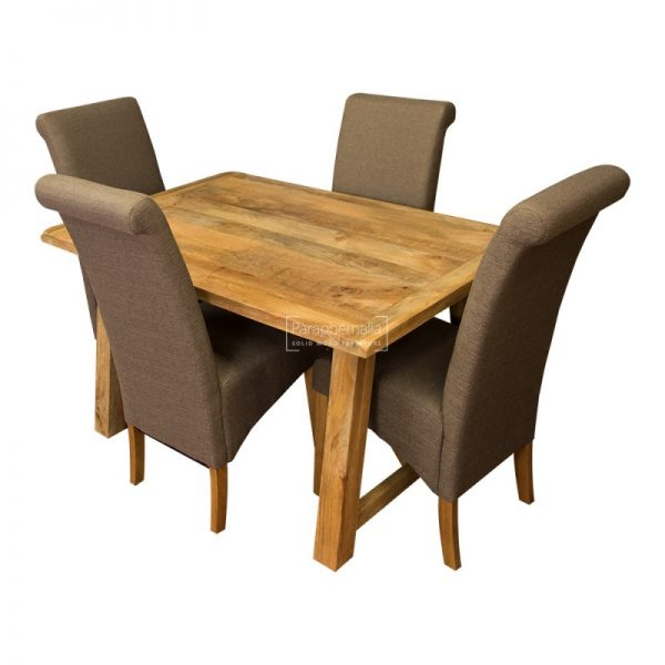 Simply Garda Light Mango Wood 135cm Dining Table   Four Fabric Chairs Medium