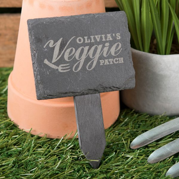 Collection Engraved Slate Plant Marker Veggie Patch Medium
