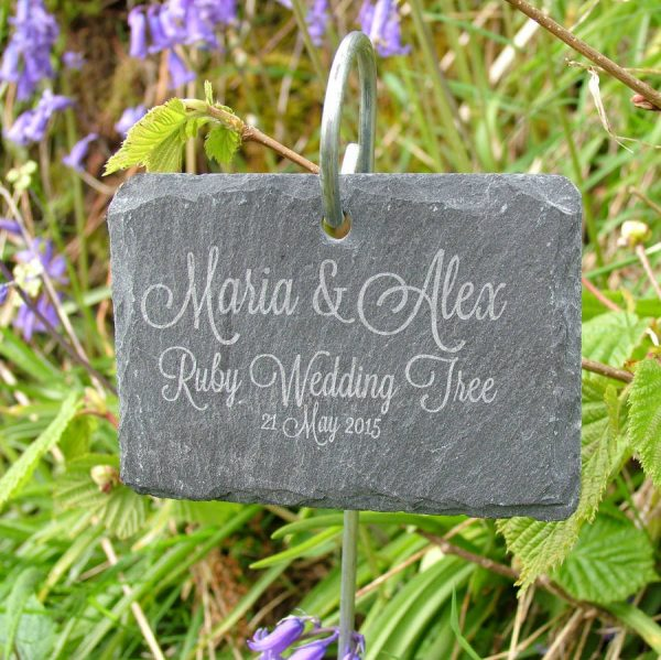 Get Personalised Hanging Slate Plant Marker By Seahorse Medium