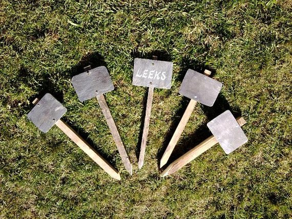 Looking Wood And Slate Garden Allotment Row Markers Set Of 5 With Medium