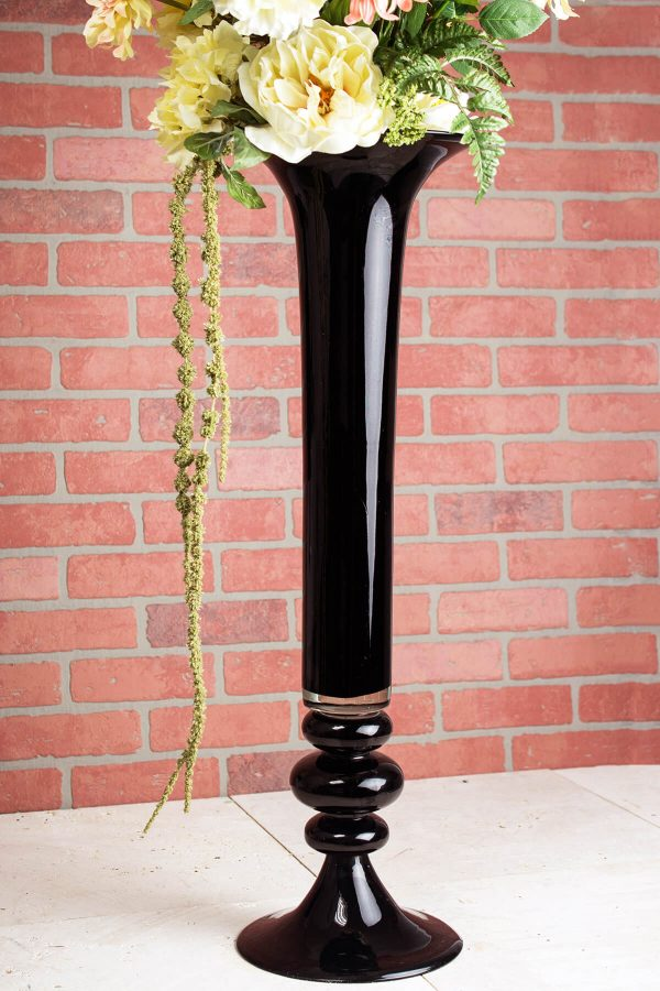 Popular Black Glass 32 Inch Trumpet Vase Medium