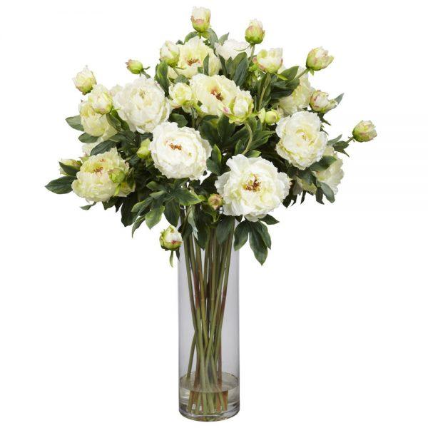 Style New 38 Tall White Giant Peony Artificial Silk Fake Flower Medium