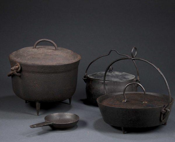 18th 19th Century Cast Iron Cooking Pots Medium