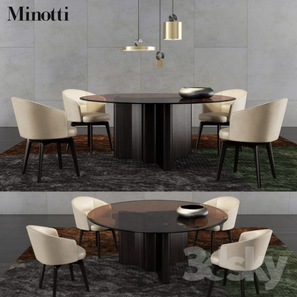 3d Models Table   Chair Minotti Lou Dining Table And Medium