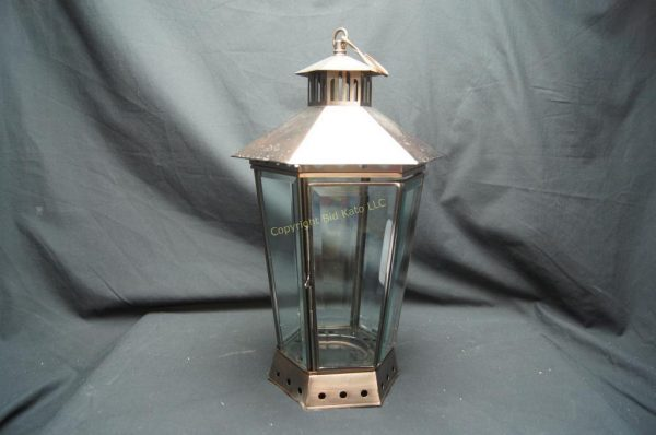 6 Large Pillar Candle Glass Metal Lanterns Medium