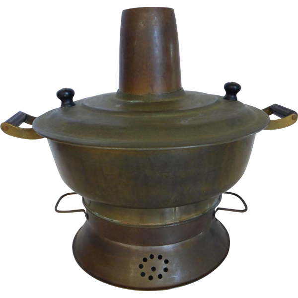 Antique Chinese Brass Hot Pot Cooking Pot From Historique Medium