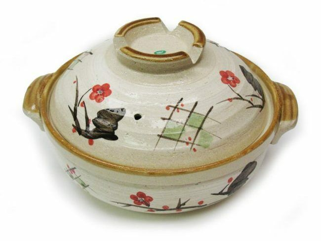 asian japanese style earthen donabe cooking clay pot nabe