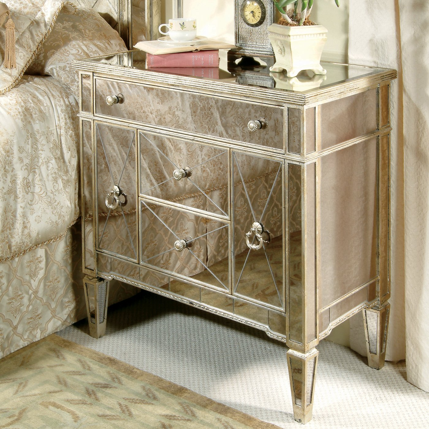 bore perfect bedroom awesome mirrored nightstand design with beds and