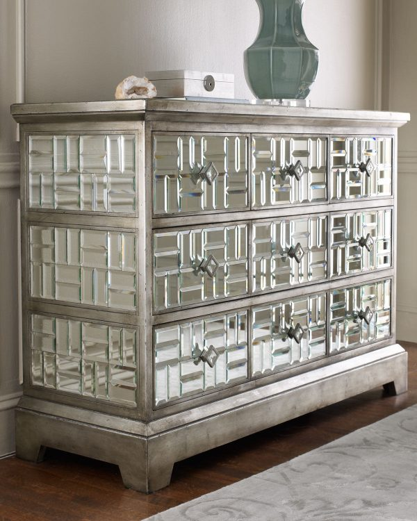 Clever Explore Gatsby Beveled Mirrored Chest 5 Drawer Hollywood Regency Medium