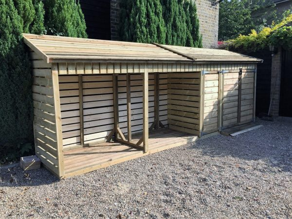 Collection Combined Wheelie Bin Storage With Log Storethe Wooden Medium