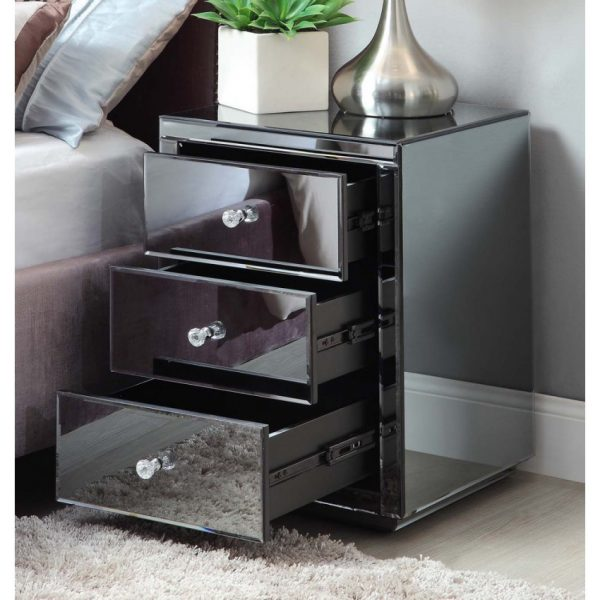 Explore Simply Vegas Smoke Mirrored Bedside Table Chest Mirror Furniture Medium