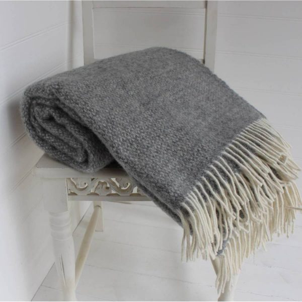 Get Grey And Cream Wool Throw By Marquis   Dawe Medium