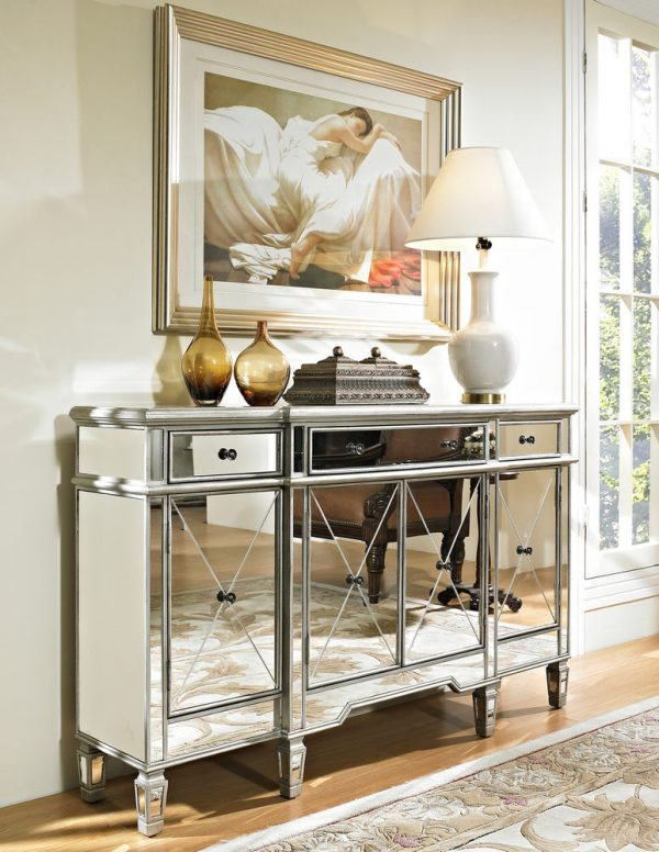 Get Perfect Hollywood Regency Mirrored Console Cabinet Dresser Table Medium