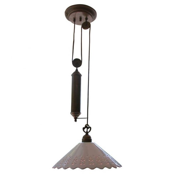 Il Fanale Single Pendant Light Fixture With Brass Pulley Medium