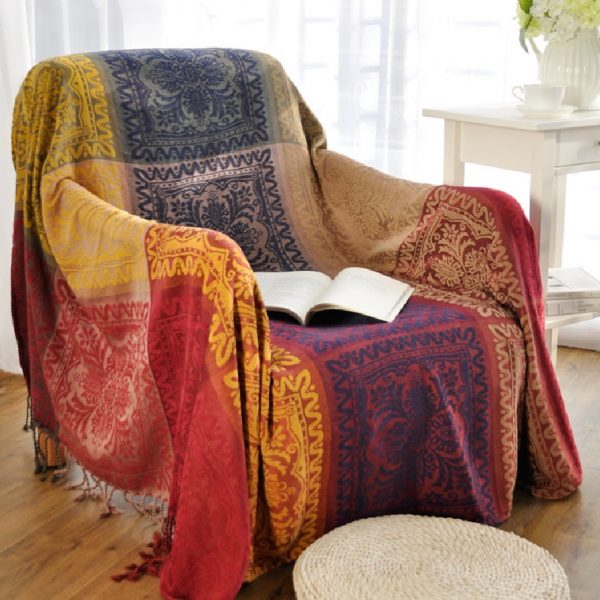 Inspiration Bohemian Chenille Blanket For Couch Sofa Decorative Medium