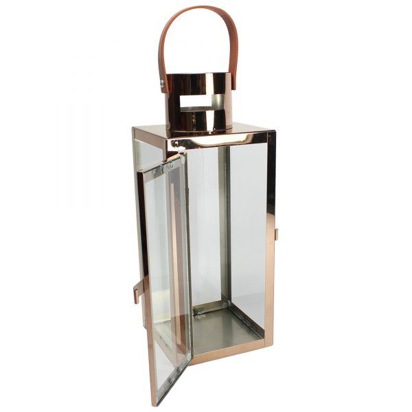 Large H31cm Glass   Copper Pillar Candle Lantern W Medium
