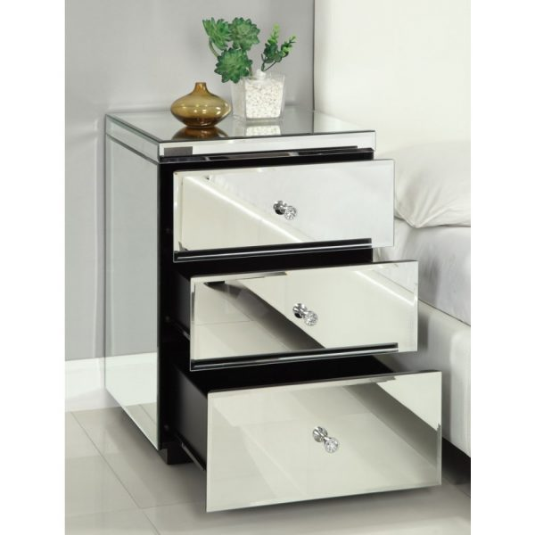 Our Favorite Best Rio Crystal Mirrored Bedside Table Chest Nightstand Medium