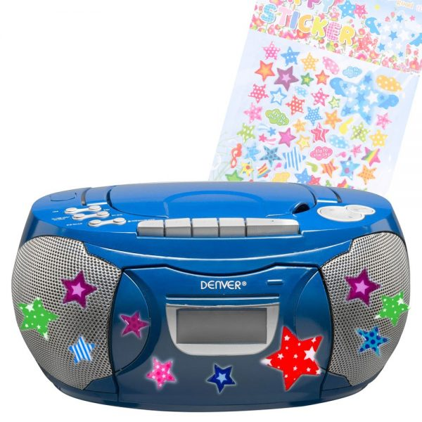 popular children room stereo radio cd player cassette boombox blue medium