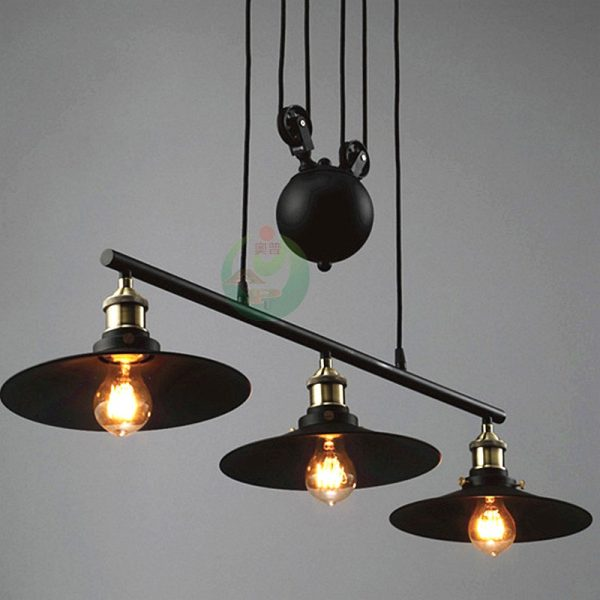 Pulley Pendant Light Fixture And Vintage Industrial Lamp Medium