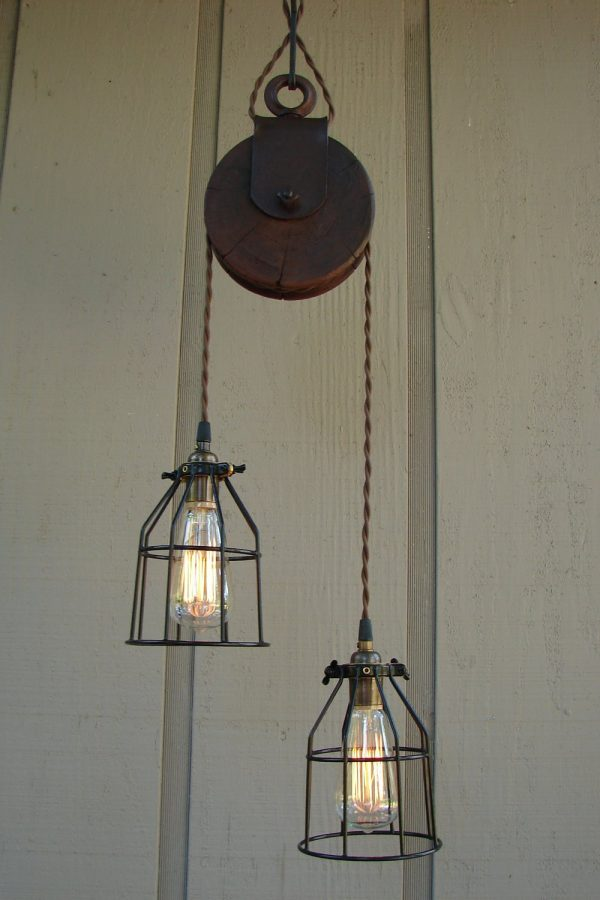 Reserved For Diane Upcycled Farm Pulley Lighting Pendant With Medium