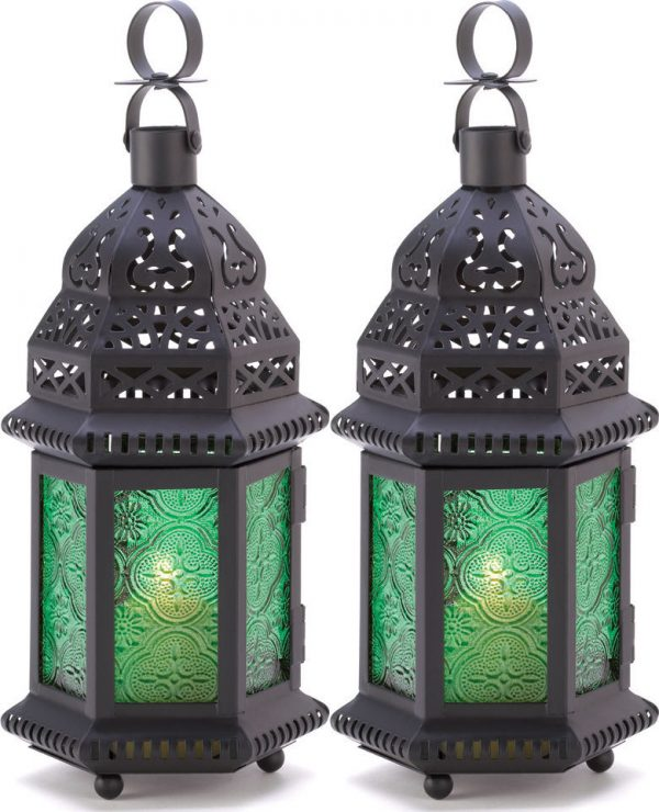 Set Of 2 Green Pressed Glass Metal Moroccan Table Or Medium