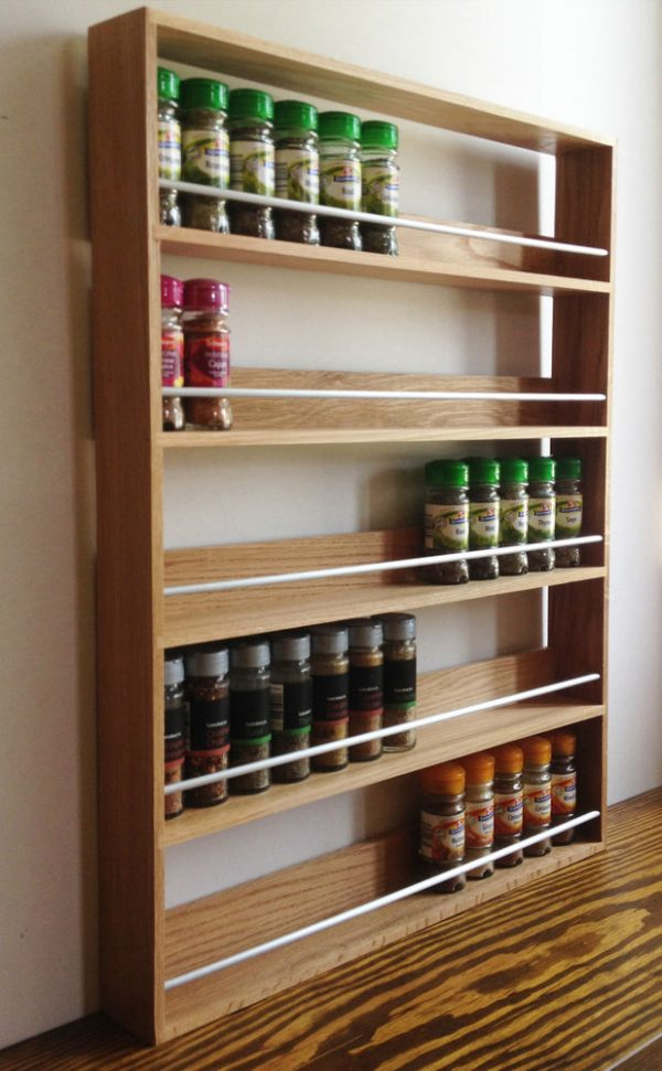 SOLID OAK SPICE RACK 5 SHELVES KITCHEN WORKTOP WALL Medium