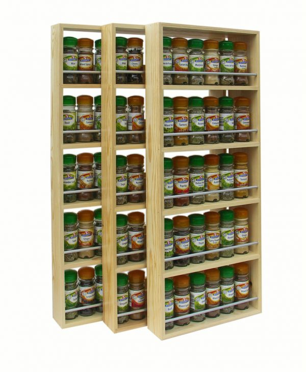 SOLID PINE SPICE RACK 5 SHELVES KITCHEN WORKTOP WALL Medium