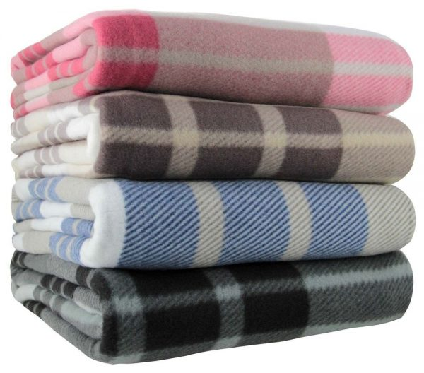 Style Tartan Check Polar Fleece Throw Blanket 125cm X 150cm Blue Medium