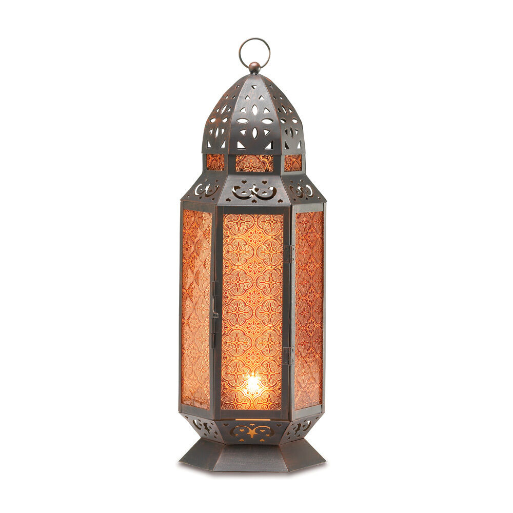 tall standing amber glass moroccan candle lanternebay