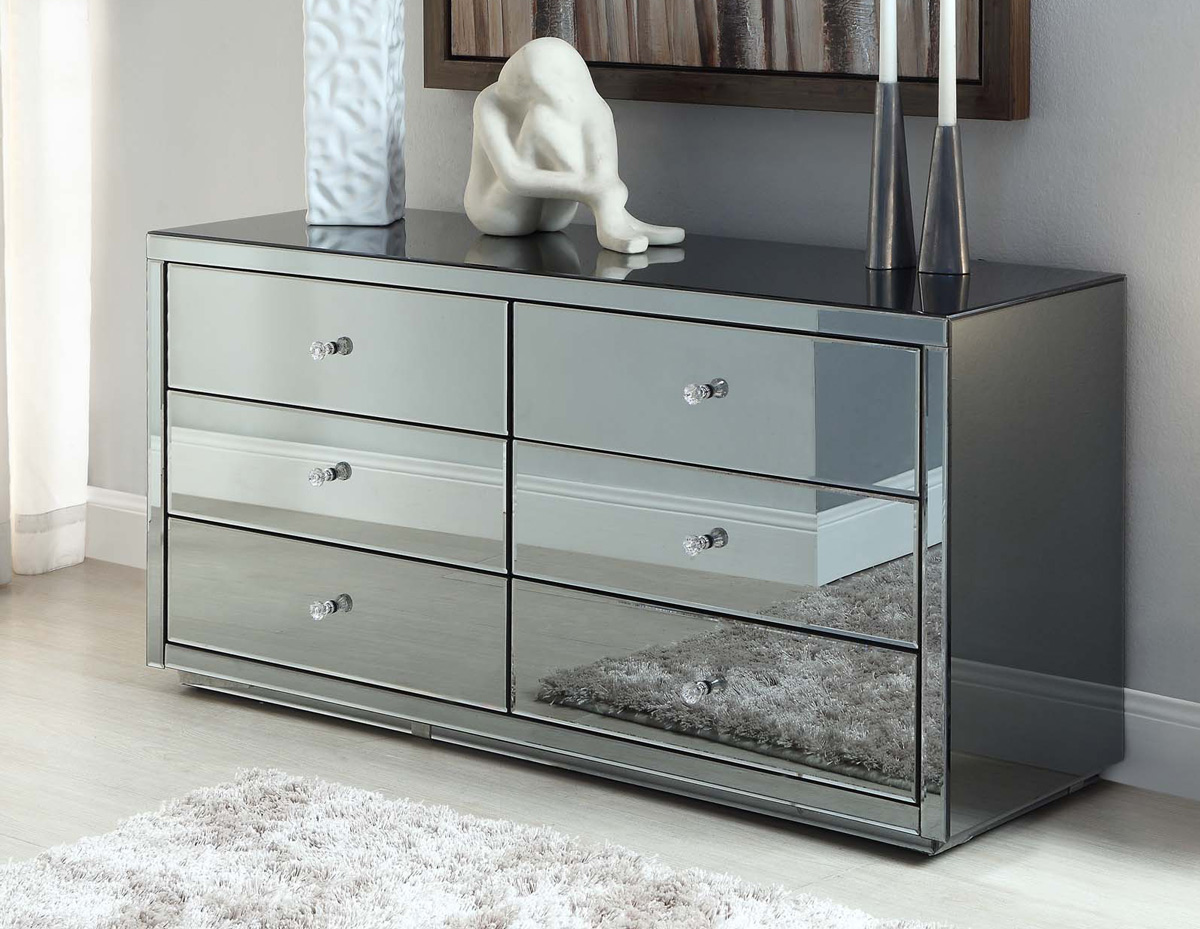 tips perfect vegas smoke mirrored dressing table low chest 6 drawers