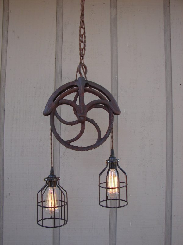 Upcycled Vintage Well Pulley Pendant Light With Bulb Cages Medium