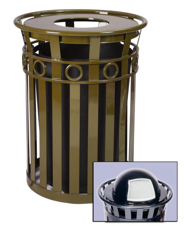 40 Gallon Oakley Decorative Outdoor Steel Trash Cans Medium
