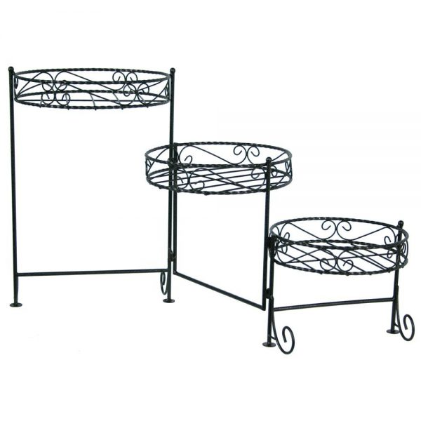 Best Astonishing Round Black Iron 3 Tier Plant Stand As Plant Medium