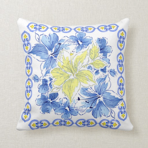 best blue and yellow floral square throw pillowzazzle