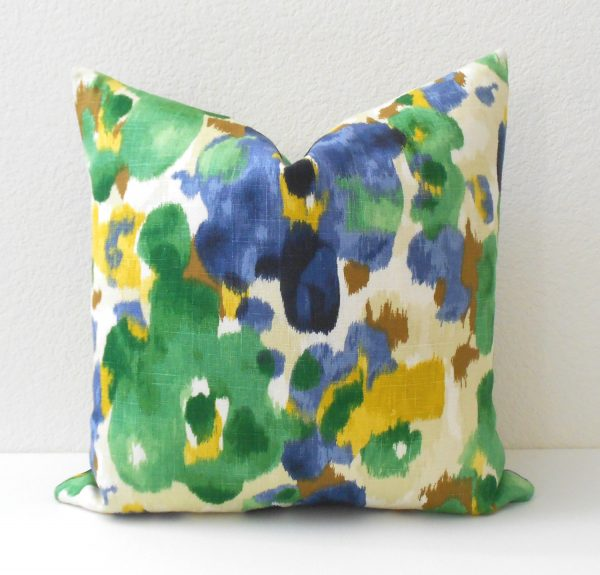Best Blue Green And Yellow Watercolor Floral Decorative Pillow Medium